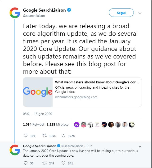 Google UpDate Gennaio 2020: ecco i primi riscontri
